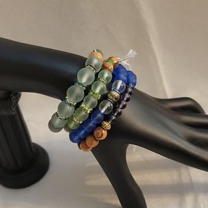 Recycled Sea Glass and Olive Wood Stretch Bracelet